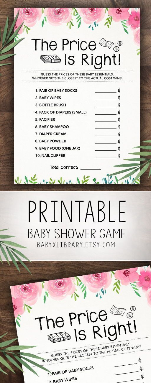 The Price is Right, Baby Shower Game, Baby Shower Activities, Baby Shower Games, Printable, Instant Download, For Girl, Guessing Game