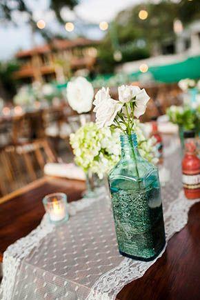 Blue Glass Centerpieces A Rustic Beach Wedding In Tamarindo