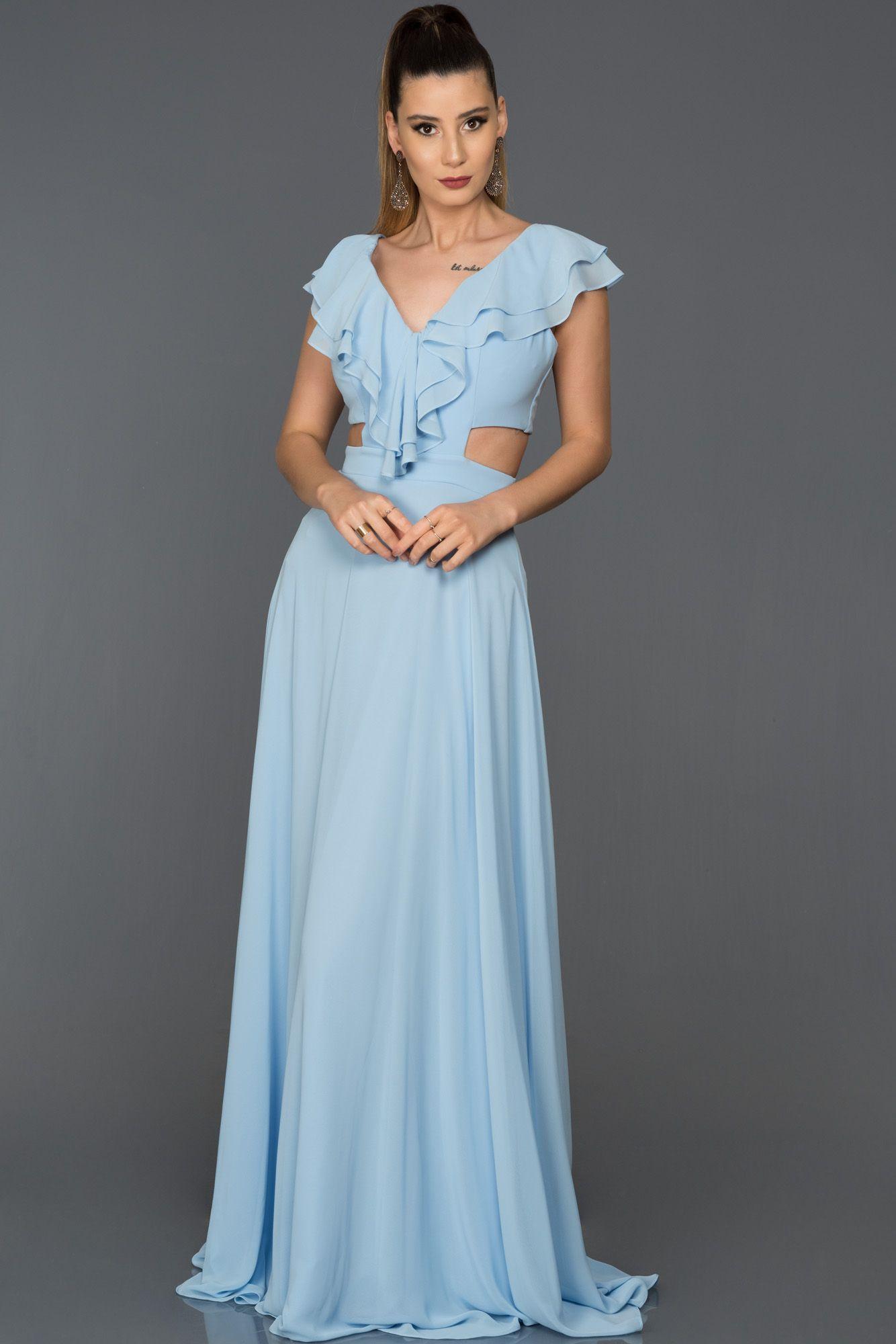 Mavi V Yaka Sifon Abiye Elbise Abu072 Elbise Maksi Elbiseler The Dress