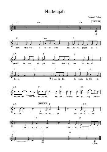t l chargez la partition gratuite de la chanson hallelujah avec accords de guitare leonard cohen. Black Bedroom Furniture Sets. Home Design Ideas