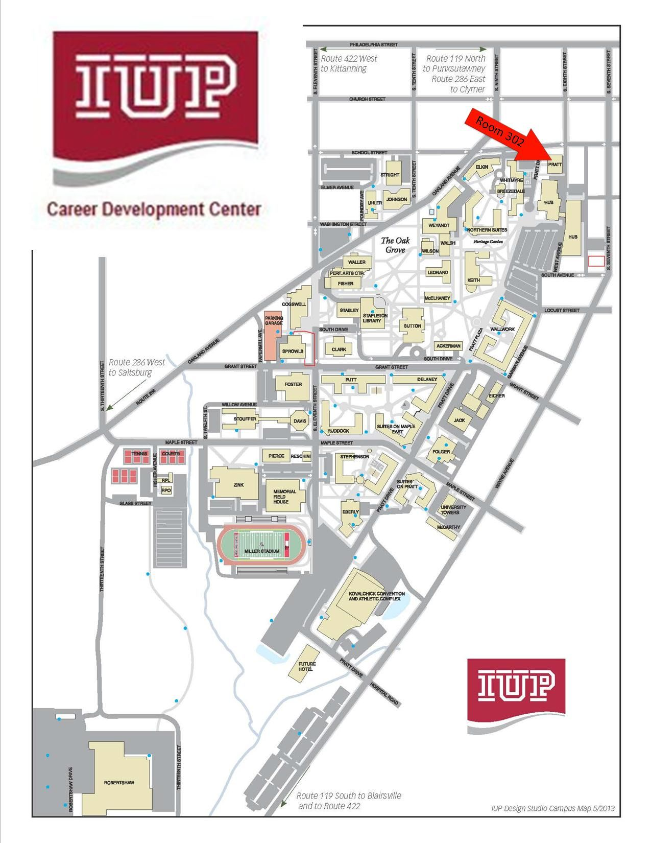 IUP's Career Development Center is located in Pratt Hall. | Office on california state university pennsylvania map, university of pennsylvania map, purdue university map, bucknell university pennsylvania map, lincoln university pennsylvania map, temple university map, lehigh university pennsylvania map, lafayette college pennsylvania map,
