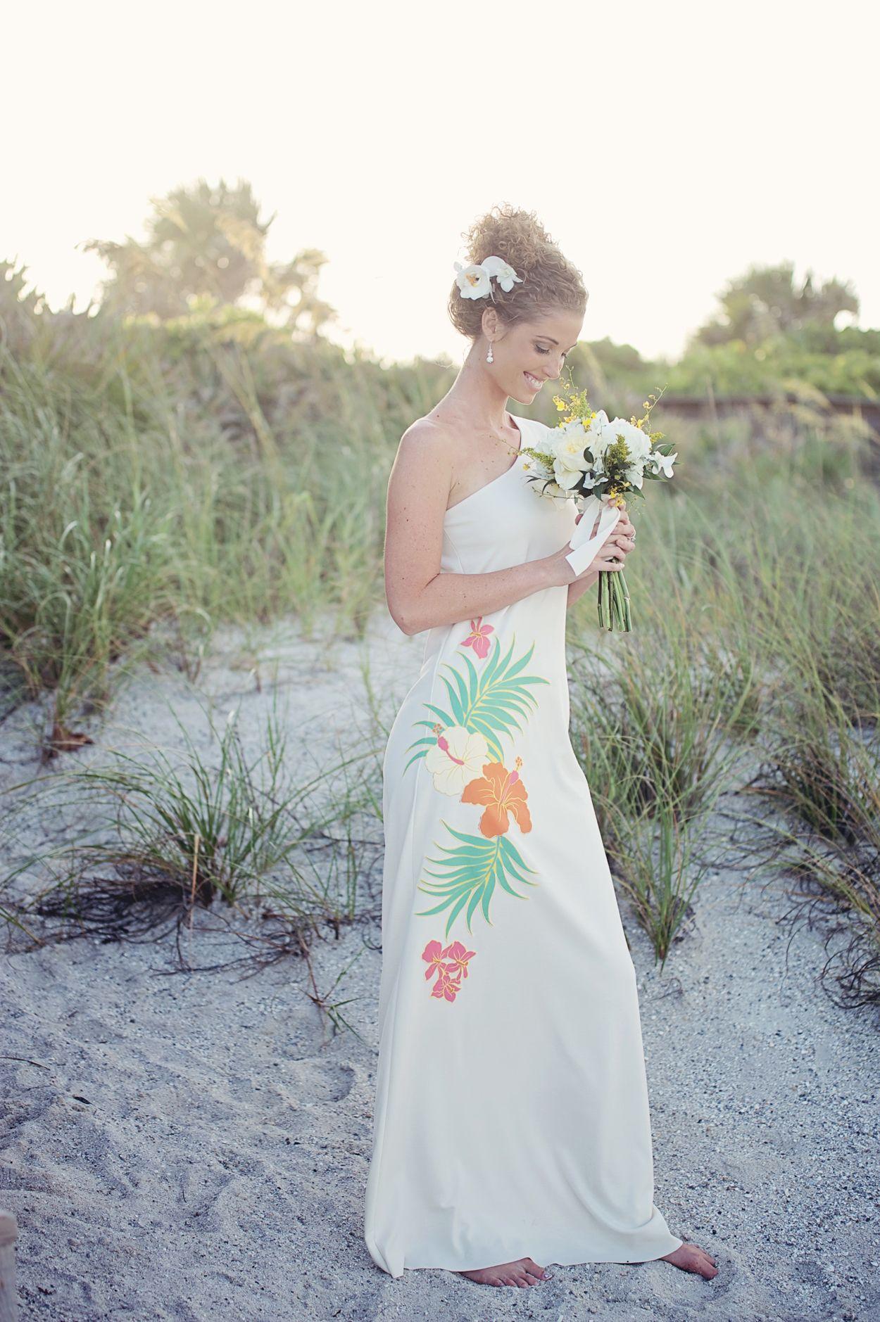 One Shoulder Beach Hawaiian Wedding Dress By Ishkabibblesdesigns