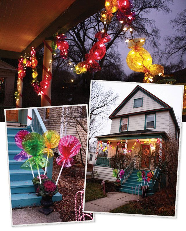candy lights and giant lollipops all made from goodies from a dollar store