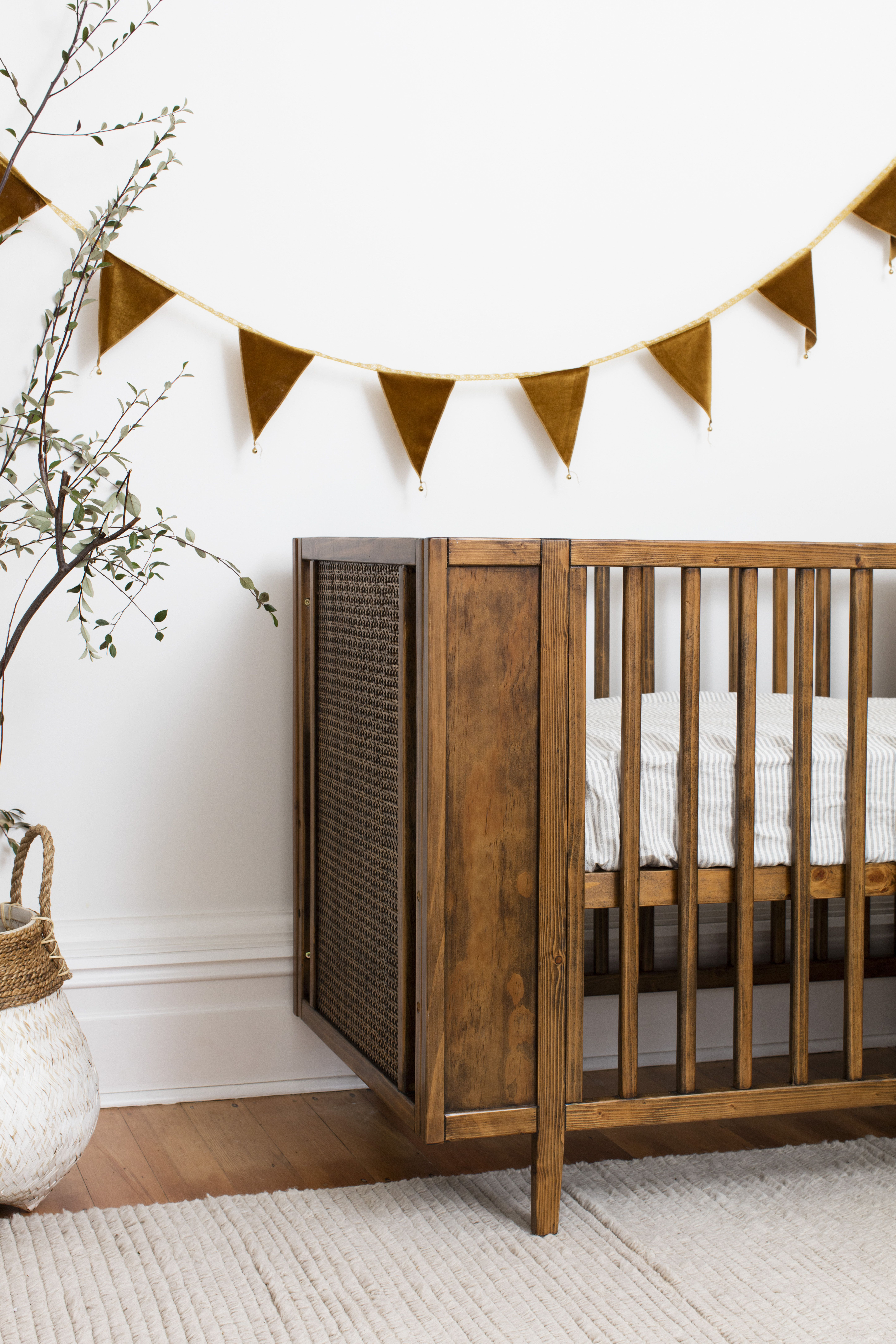 Natural Timber Cot Maxwell Cot Walnut In 2019 Nursery Nursery Furniture