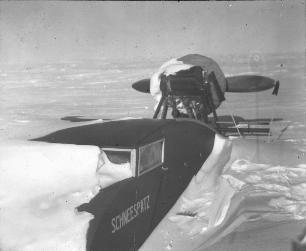 Propeller sledge Schneespatz buried in snowdrifts after a snowfall. Conditions on the Ice Cap at times made progress impossible….