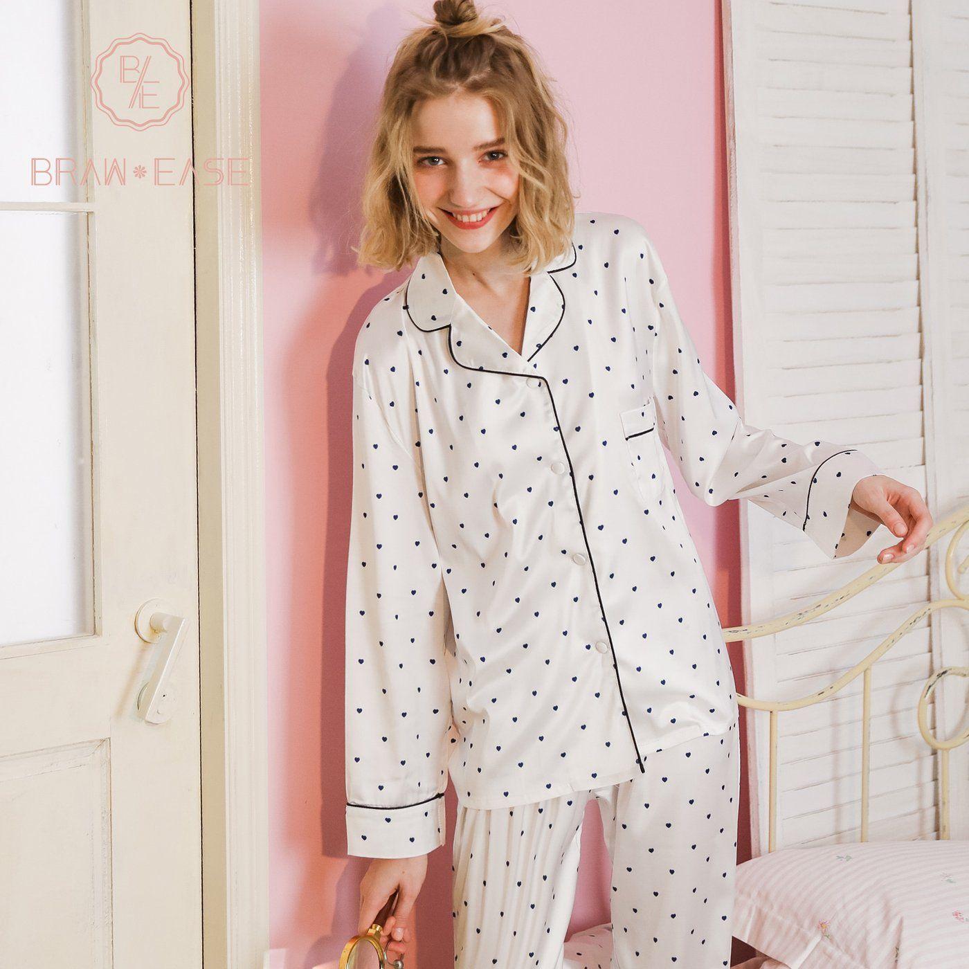 093e97d761a Womens Little Heart Satin Button Up Long Sleeve Pajama Set with Eye ...