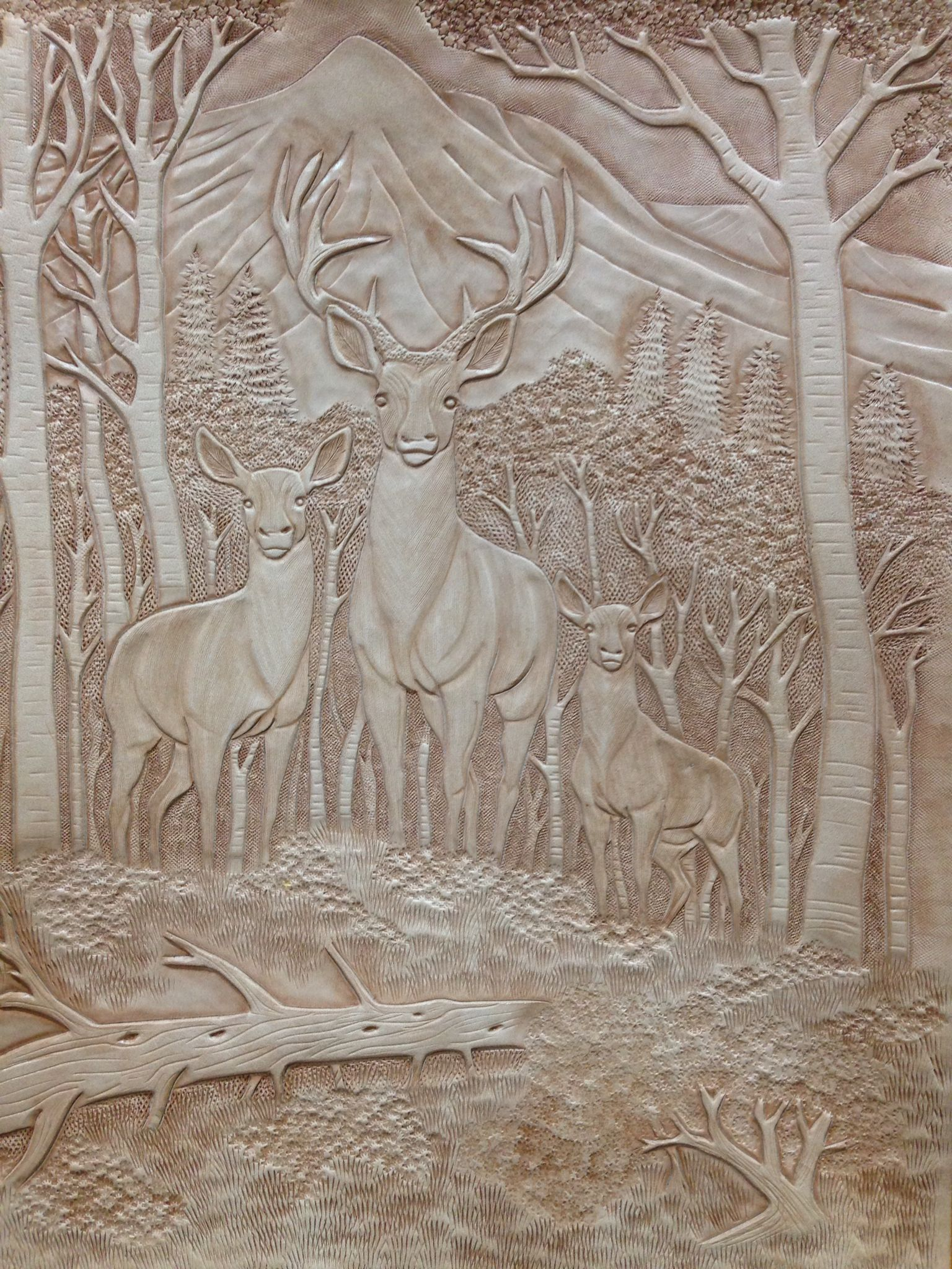 Figure carving snowy range leather