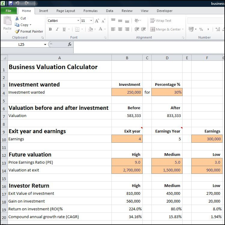 Business Valuation Calculator V   Valuation