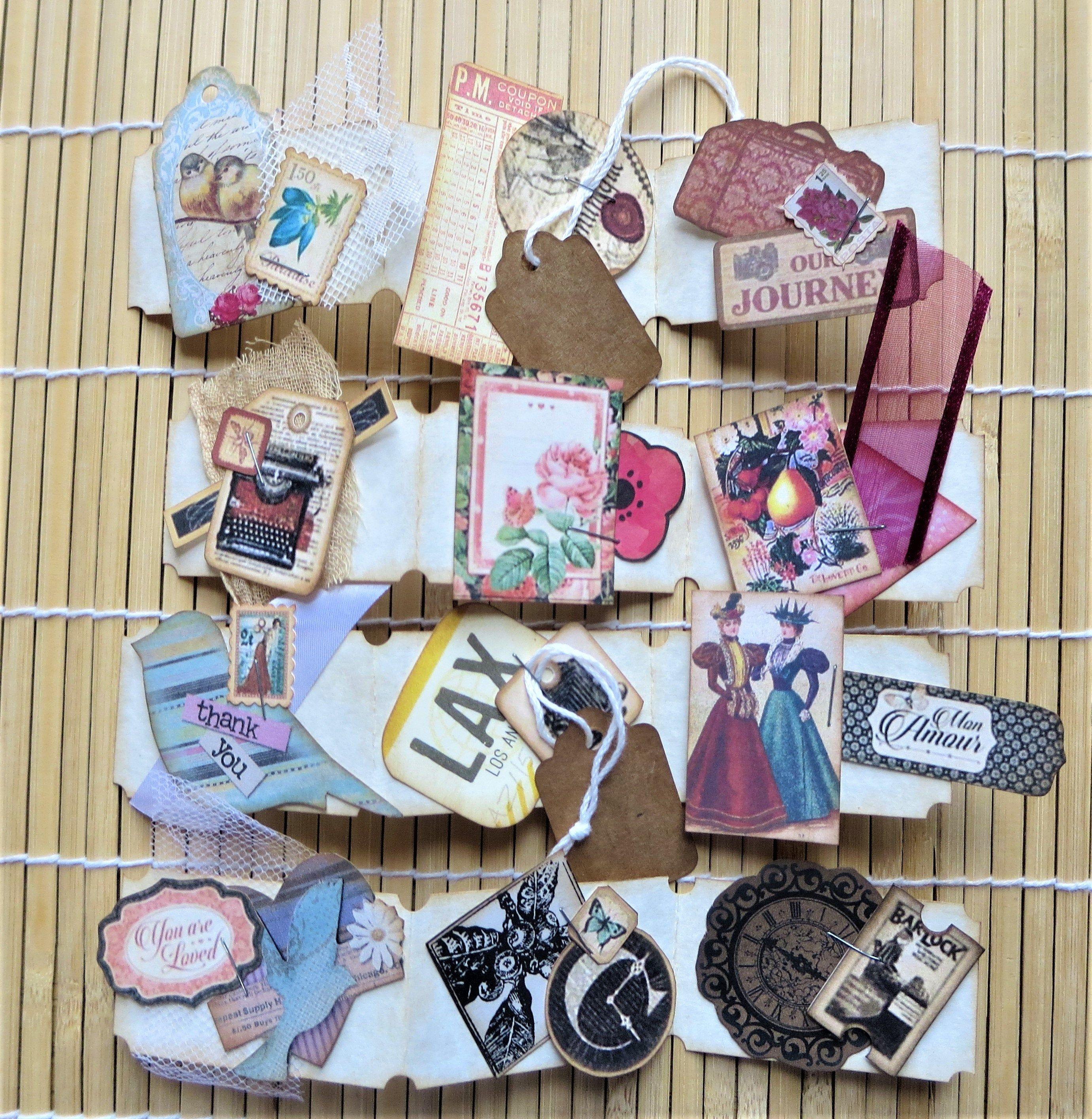 Collage Ephemera Junk Journal Cards Scrapbook card Paper Craft Altered Art