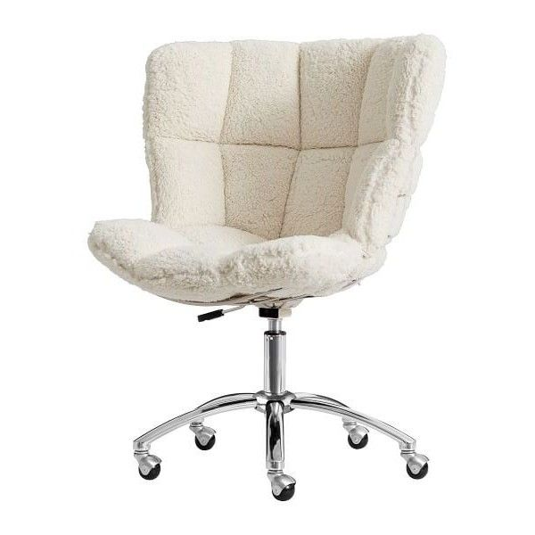 Pb Ivory Sherpa Glove Swivel Chair 315 Liked On Polyvore Featuring Home Furniture Chairs Office Web Adjule
