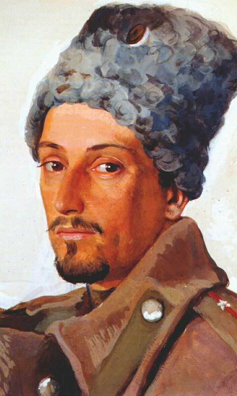 Yevgeny Lanceray in a shako - Zinaida Serebriakova