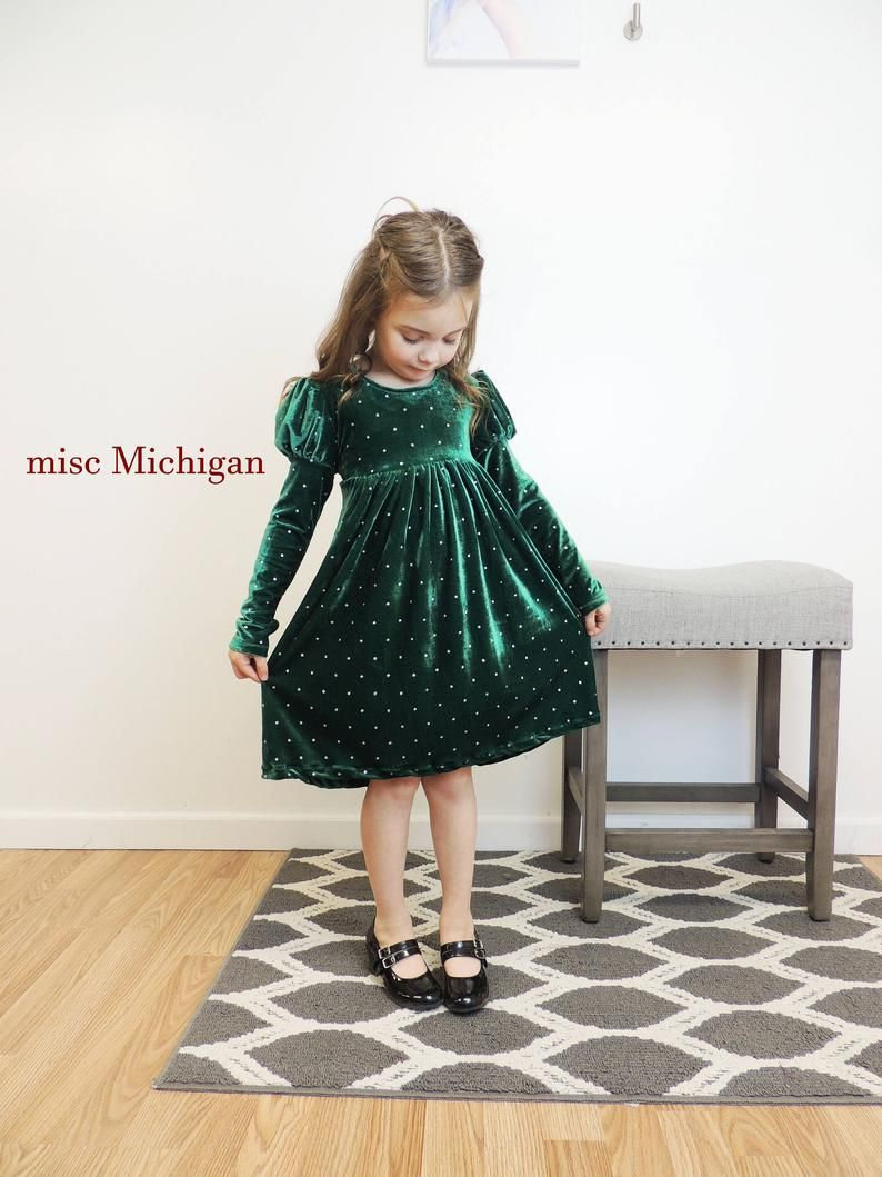 Photo of Toddler Dress, Toddler Dress, Velvet Dress, Green Dress, Gir…