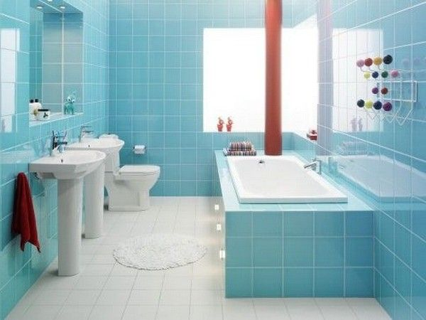 Remodel Idea For Small Bathroom Design With Light Blue Wall Tiles And White  Floor Tiles