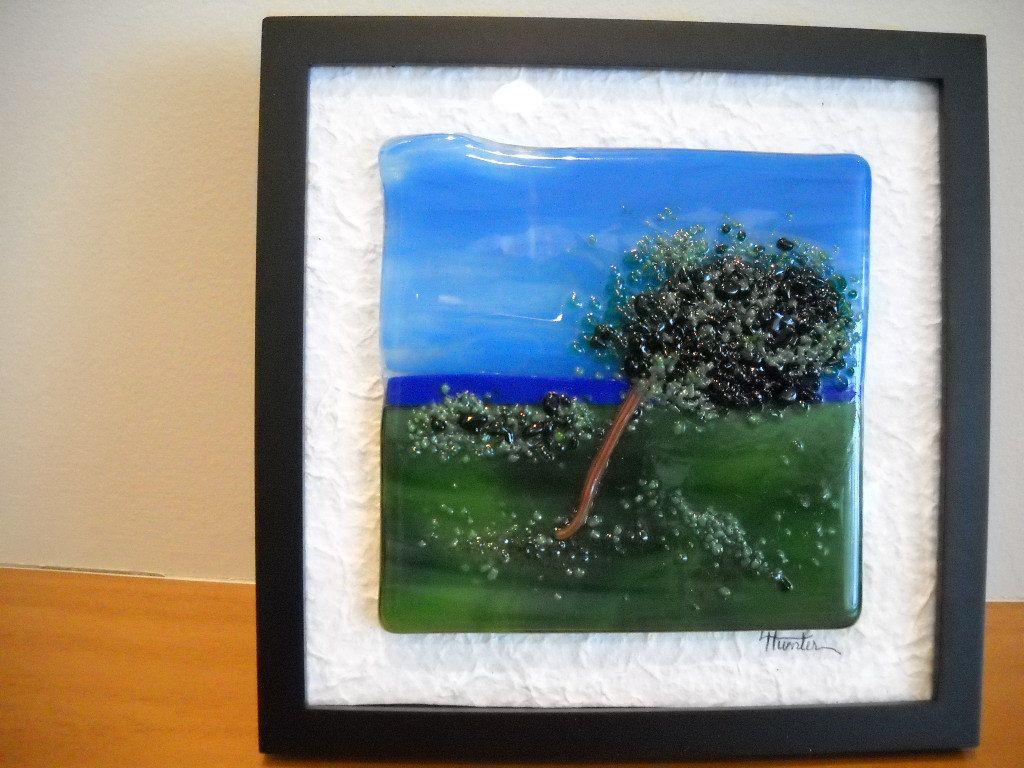 Windswept tree fused glass framed art | Pinterest