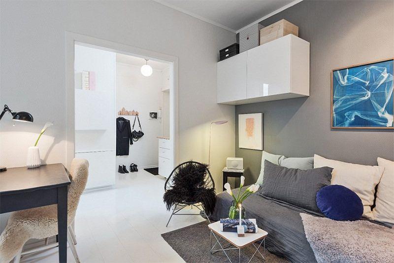 Simp tica quitinete decorada de 28m quitinete sala for Ver apartamentos pequenos