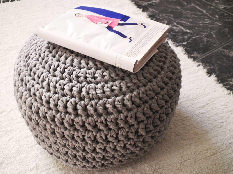 Large Grey Pouf Footstool Ottoman- Knit Pouffe- Nursery Pouf ...