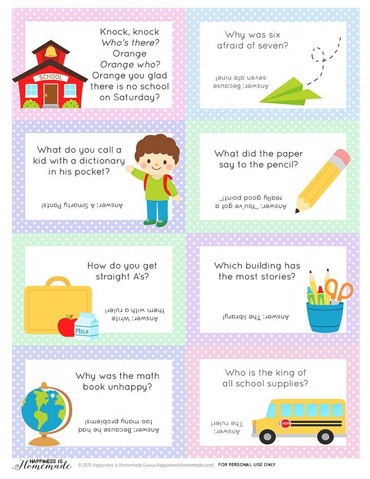 Printable BacktoSchool Lunch Box Jokes & Notes