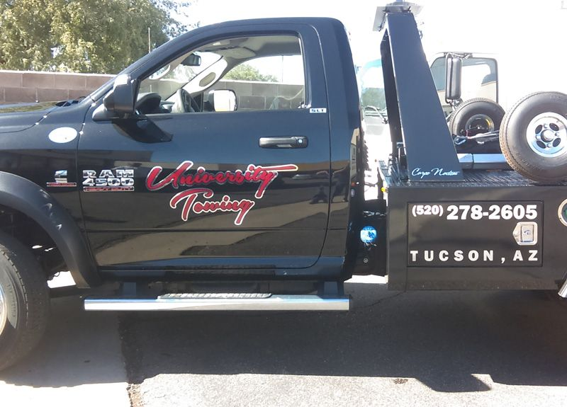 Custom Vinyl Decals For A Tow Truck Made With Red And Chrome Vinyl - Custom vinyl decals for trucks