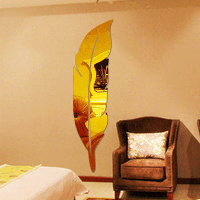 Fashion Gold Silver Feather Mirror Wall Sticker Home Decor Creative ...