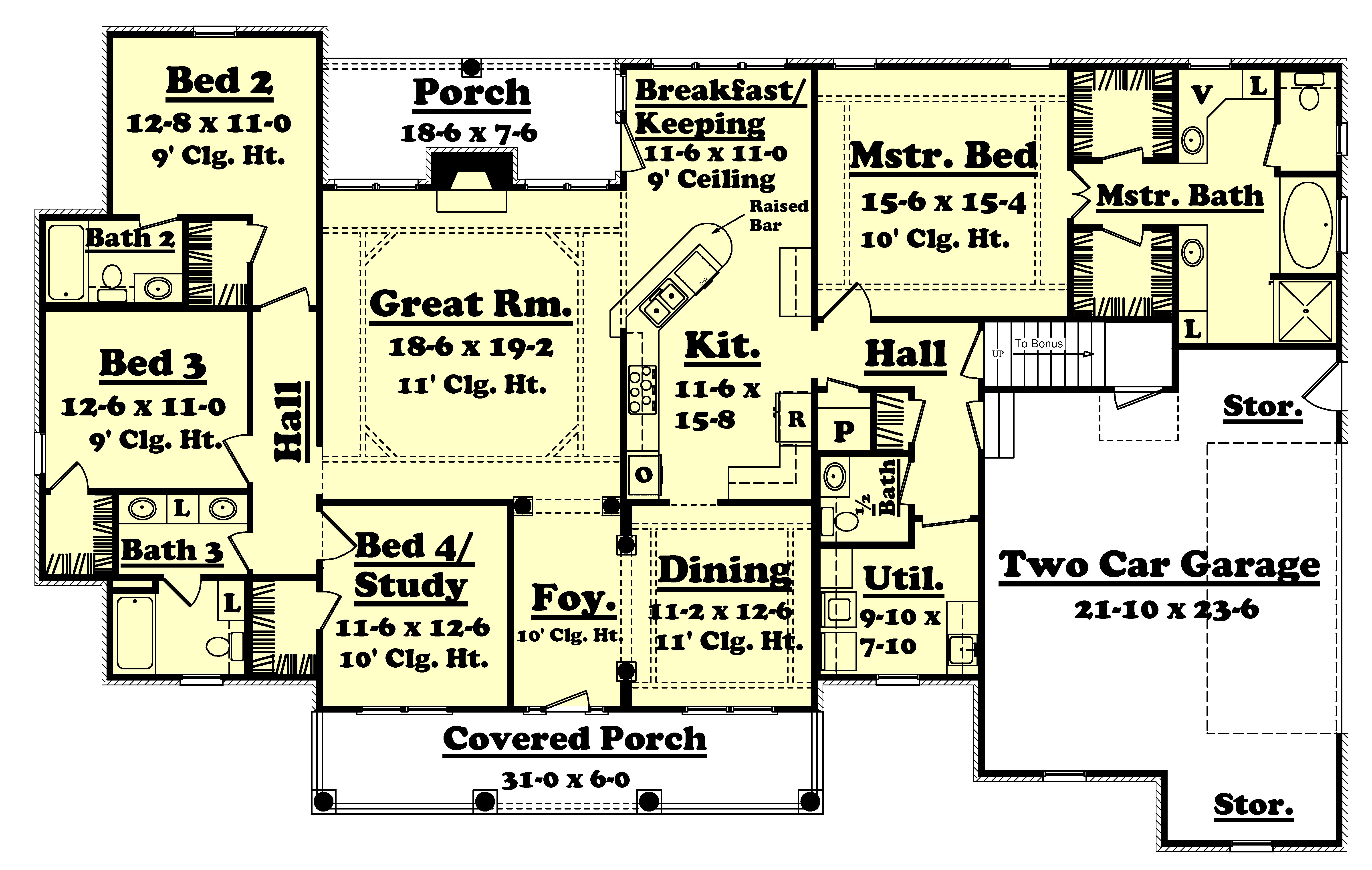 country style house plan 4 beds 3 5 baths 2500 sq ft