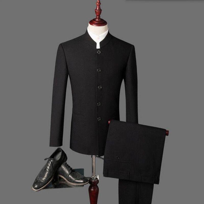 0bdeb02be Cheap Nuevo 2018 hombres de la llegada trajes Negro últimas bragas de la  capa diseños cuello mao hombres trajes de boda trajes de boda del novio ( chaqueta + ...