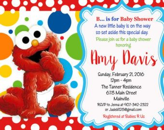 Baby, Elmo, Sesame Street, First Birthday, One Year, Birthday Party  Invitation   Digital Or Printed