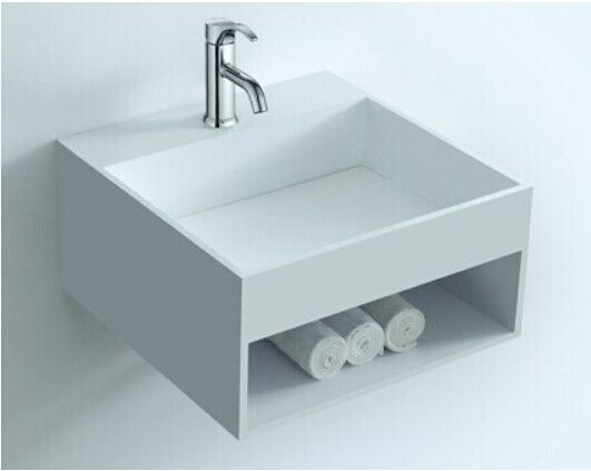 Rectangular Bathroom Solid Surface Stone Wall Hung Sink And