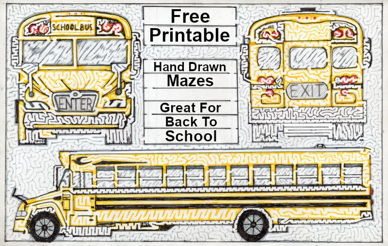 Free Printable Hand Drawn Hand Drawn School Bus Maze - Free