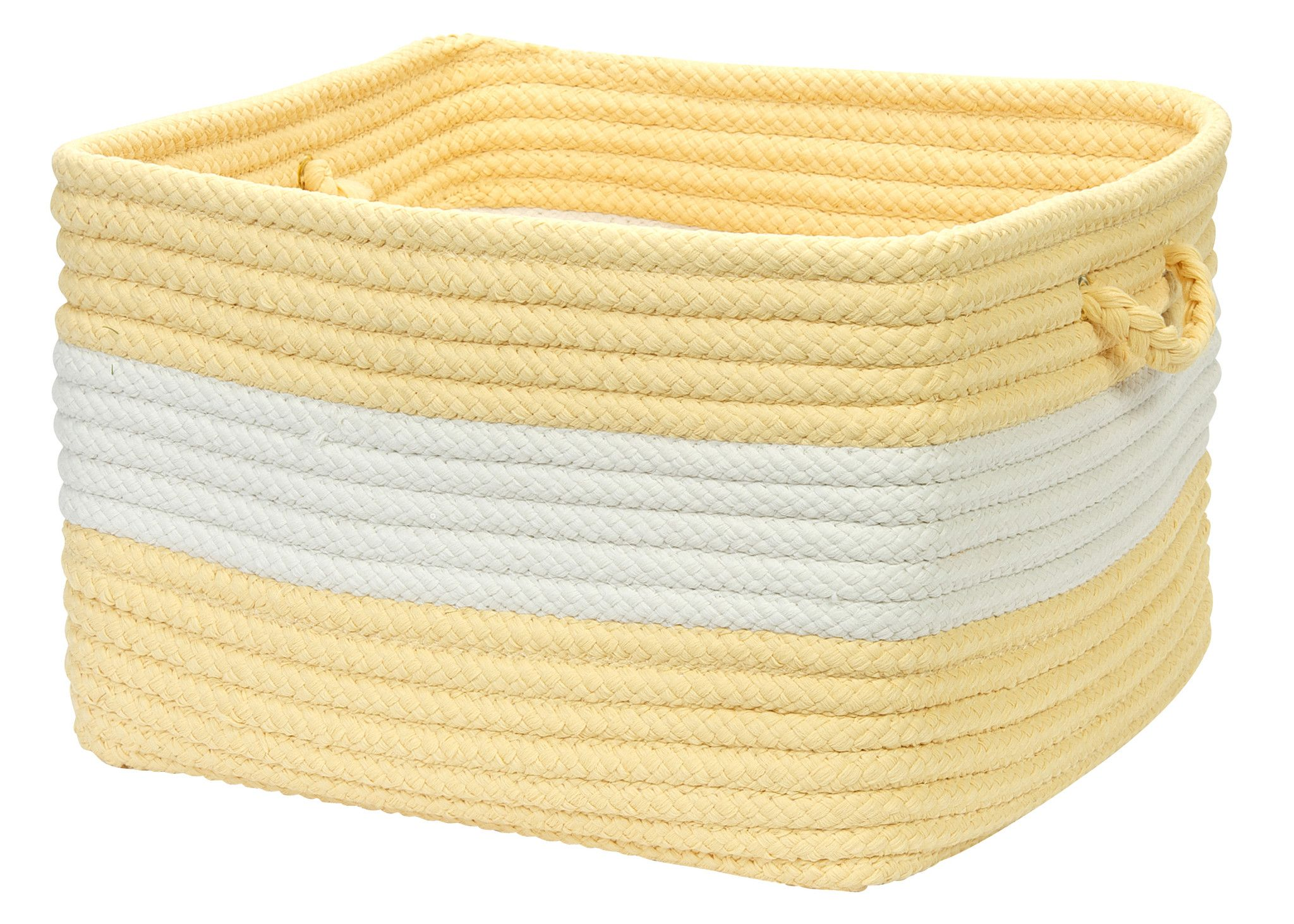 Rope Walk Indoor Outdoor Braided Square Utility Storage Basket, CB90 Yellow