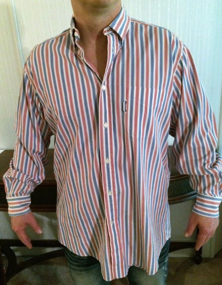 FACONNABLE Mens Shirt Size L 17 Cotton Striped Red White Blue ...