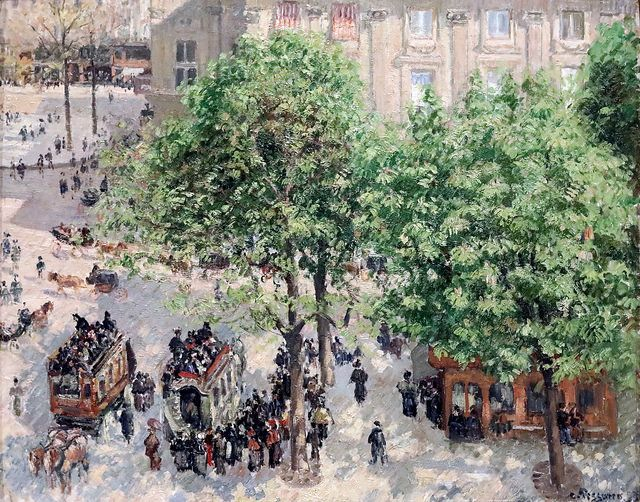 Img 7992 Camille Pissarro 1830 1903 Place Du Theatre Francais Printemps Spring 1896 Collection Chtchoukine Saint Petersbourg Ermitage Exposition T Camille Pissarro Paintings Camille Pissarro Paris Painting