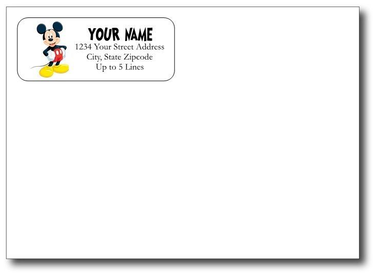 Details about mickey mouse return address gloss labels
