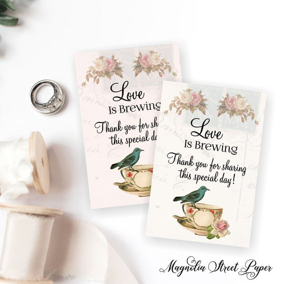 Love Is Brewing Favor Tags Printable Bridal Tea Favor Tags Kitchen