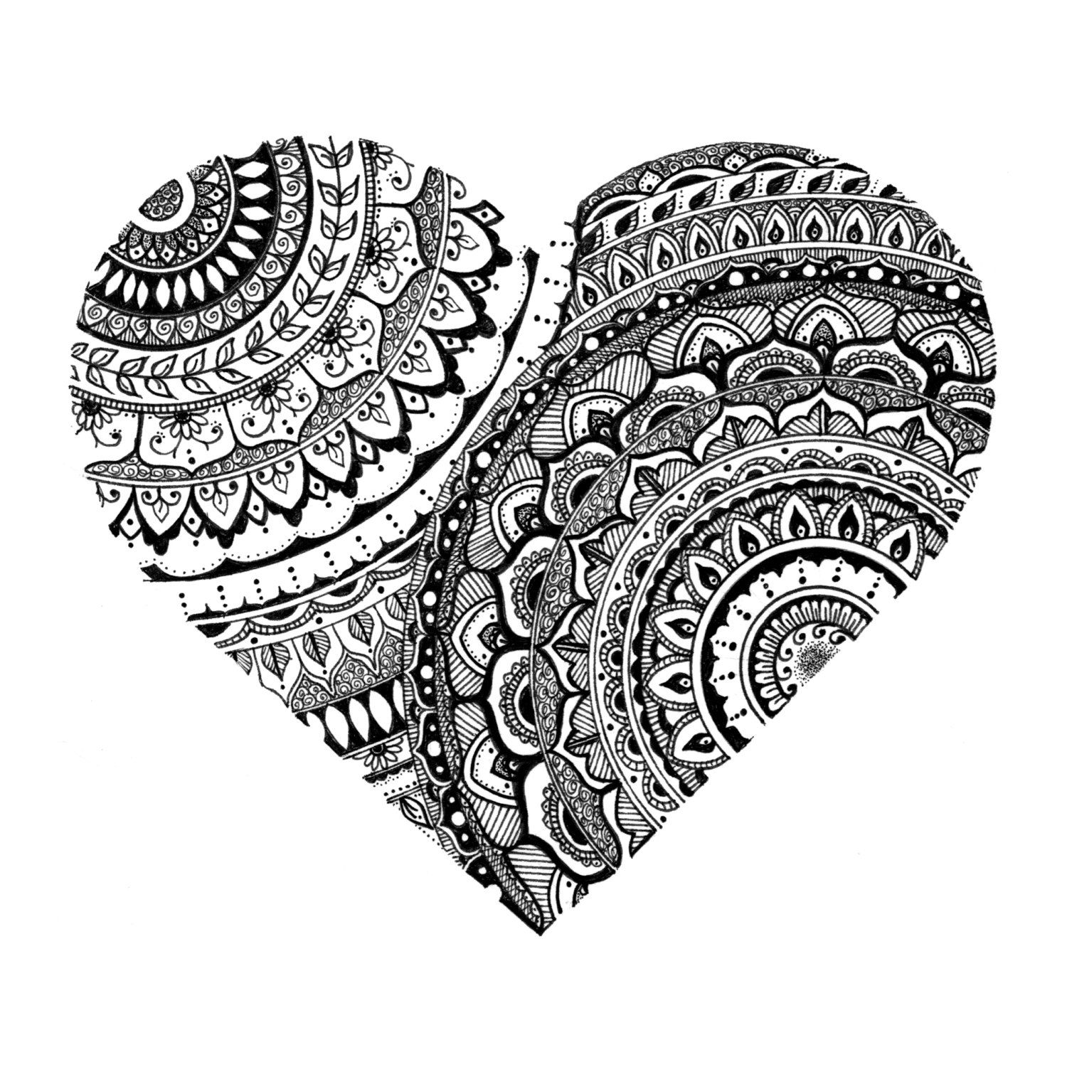 Printable Heart Mandala Illustration