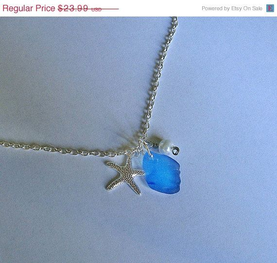 SALE Sea glass necklace Starfish beach by EgyptianInspirations, $21.59