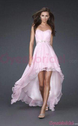 Hot Selling Sweetheart Strapless Sleeveless High Low Ruched Natural Elegant  Chiffon Pink Homecoming Dresses f0470855dc