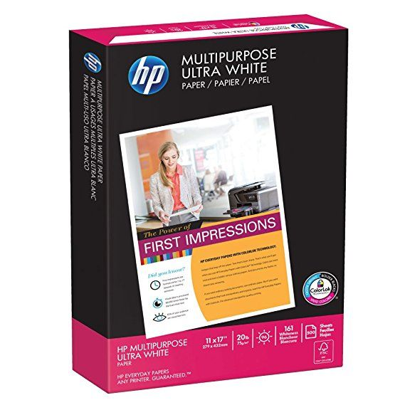 Hp Printer Paper Multipurpose Ultra White 20lb 11 X 17 Ledger 96 Bright 500 Sheets 1 Ream 172001r Made In The Usa Printer Paper Paper Hp Printer