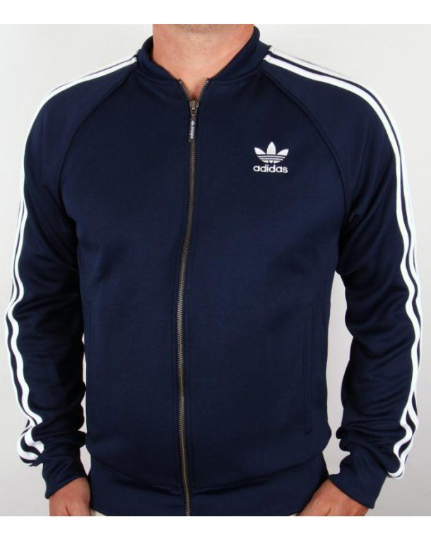 Adidas Originals Superstar Track Top Navy/white a popular retro style with  3 stripe detail.