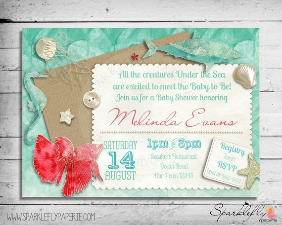 Under the sea baby shower bridal shower birthday invitation under the sea baby shower bridal shower birthday invitation custom diy printable filmwisefo Images