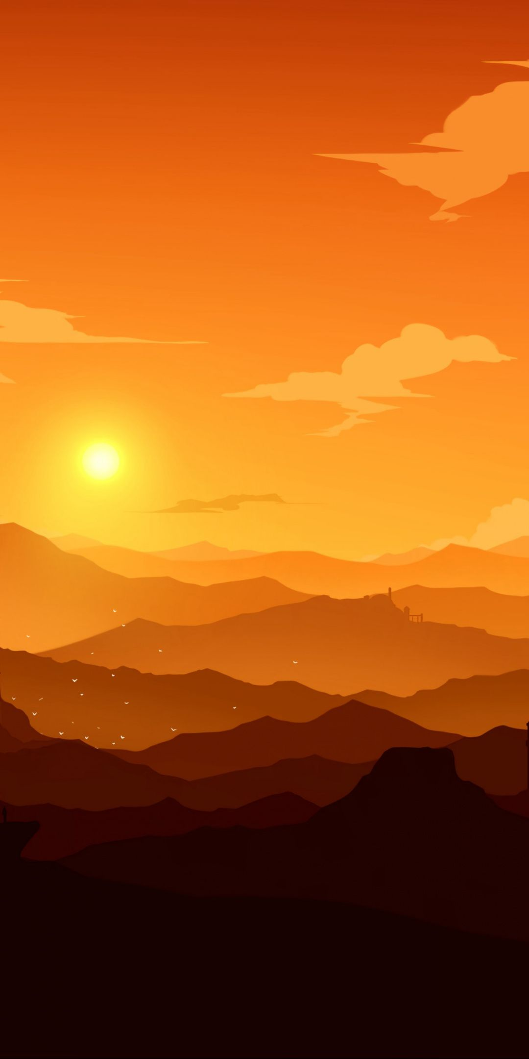 Mountains, horizon, castle, sunset, art, 1080x2160 wallpaper