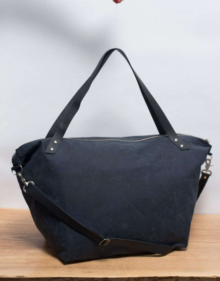 4279c1e90a4 Navy blue waxed Canvas and leather bag   unisex tote bag  beach bag   shopping