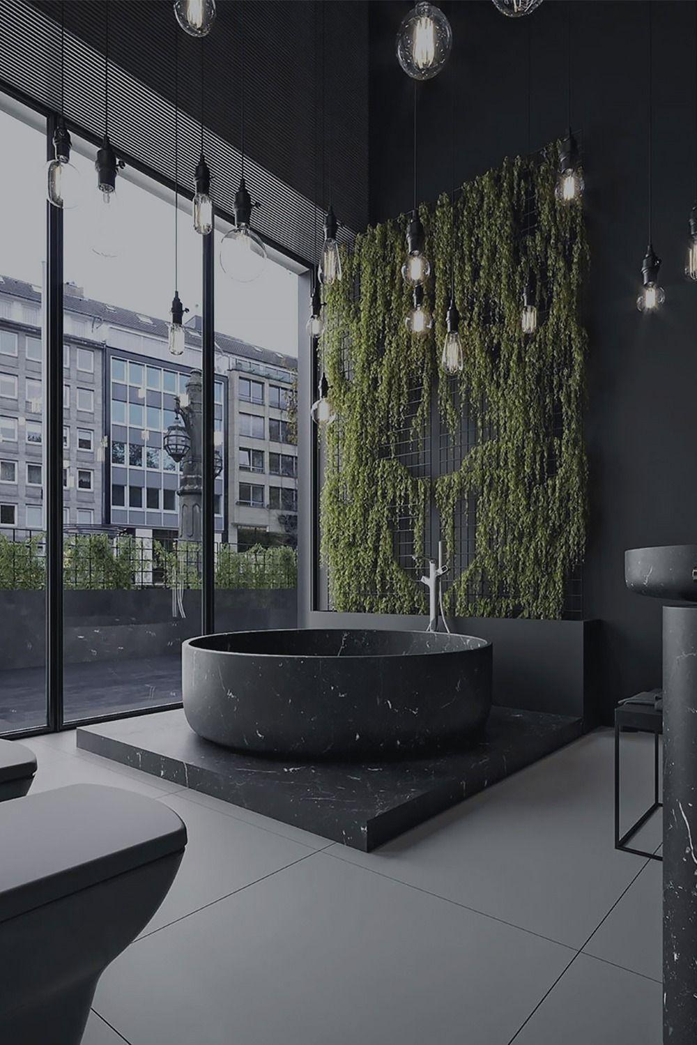Matte Black Bathroom Showroom Design Dark Interiors Luxurious Interior Design Showroom Design