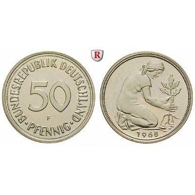 Bundesrepublik Deutschland 50 Pfennig 1968 F Pp J 384 Kupfer