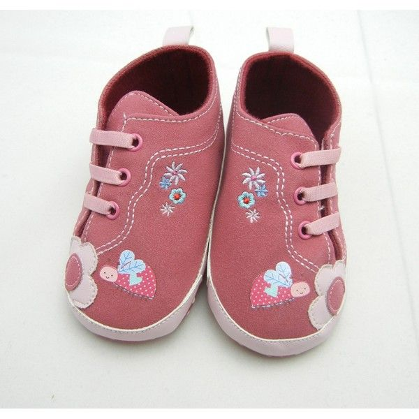 bugundy lovely bee floral pre-walker shoes girl toddler baby shoes ...
