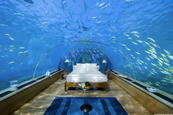 Underwater bedroom in the Maldives (fun to visit, but maybe not sleep in....)