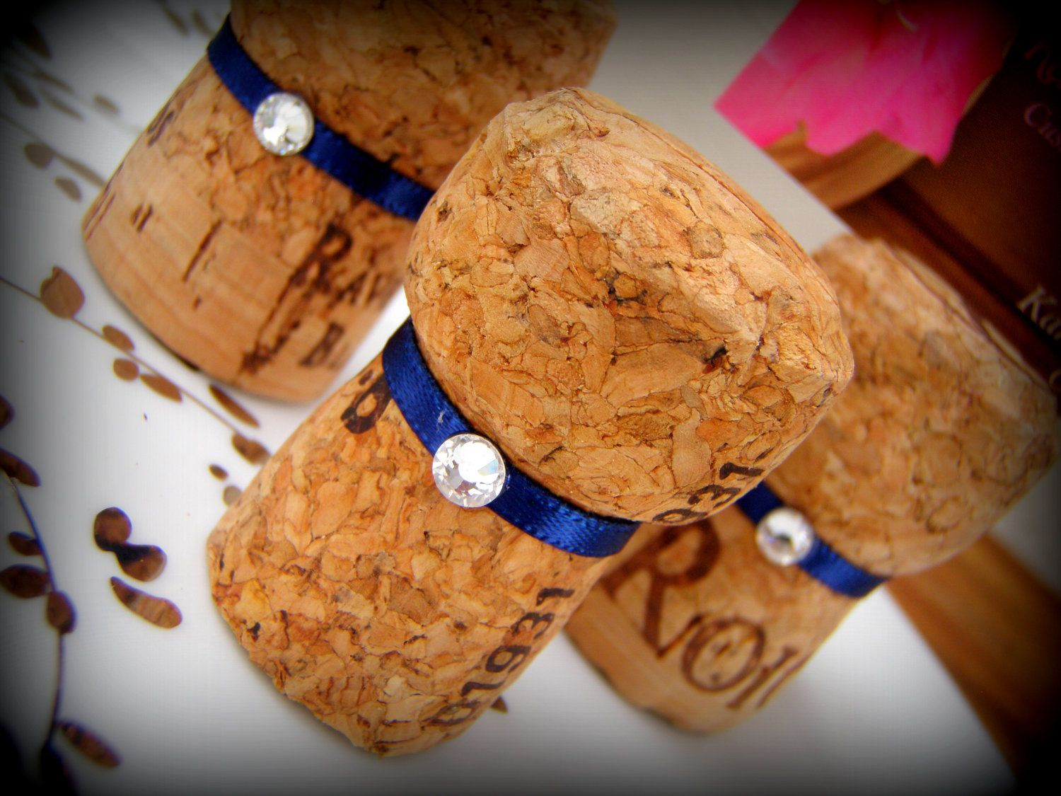 Champagne Cork Place Card Holders For Wedding Or Bridal Shower Navy Blue And Lime Green