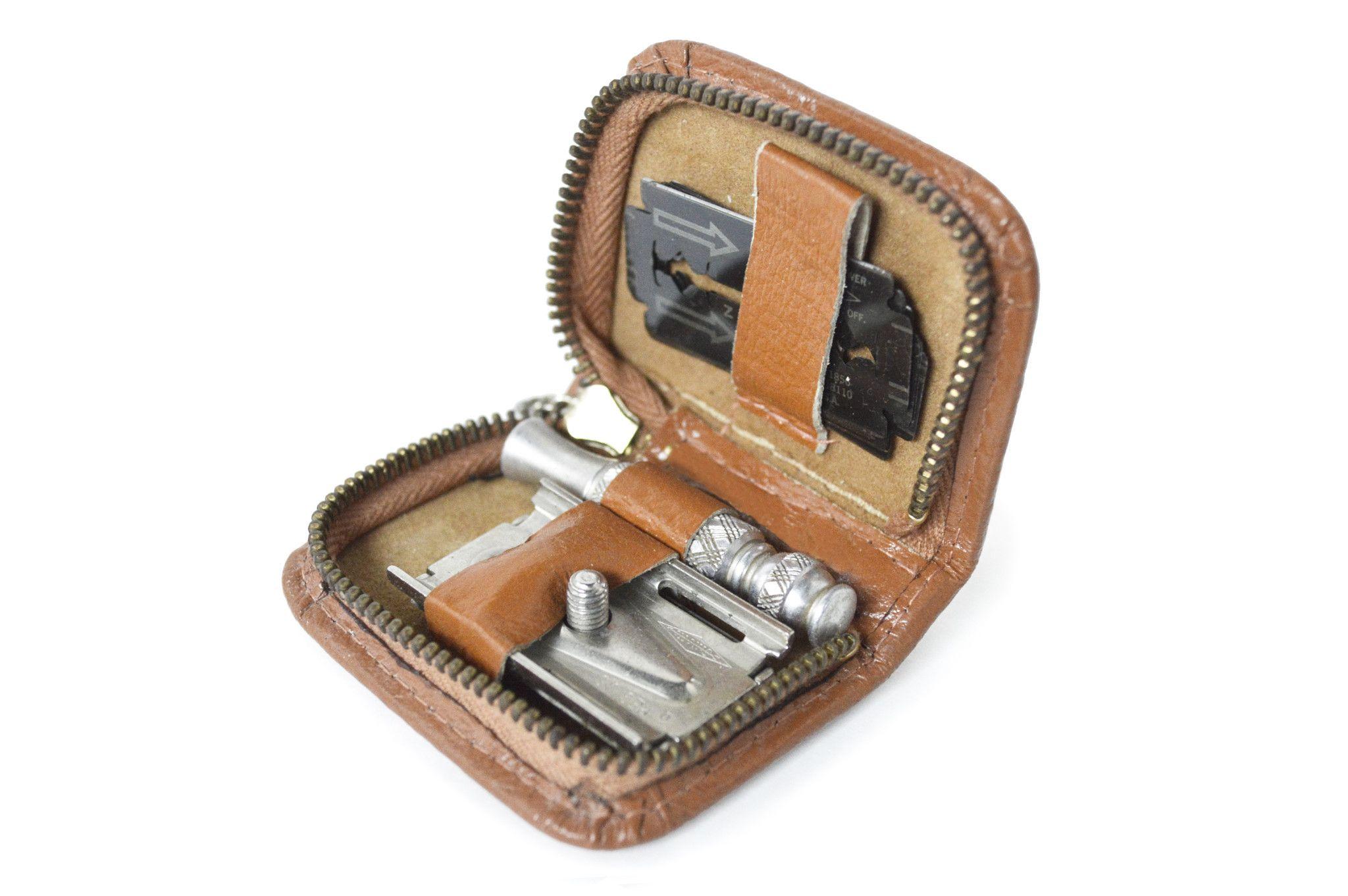 1940's Gillette Safety Razor Travel Kit. Safety razor
