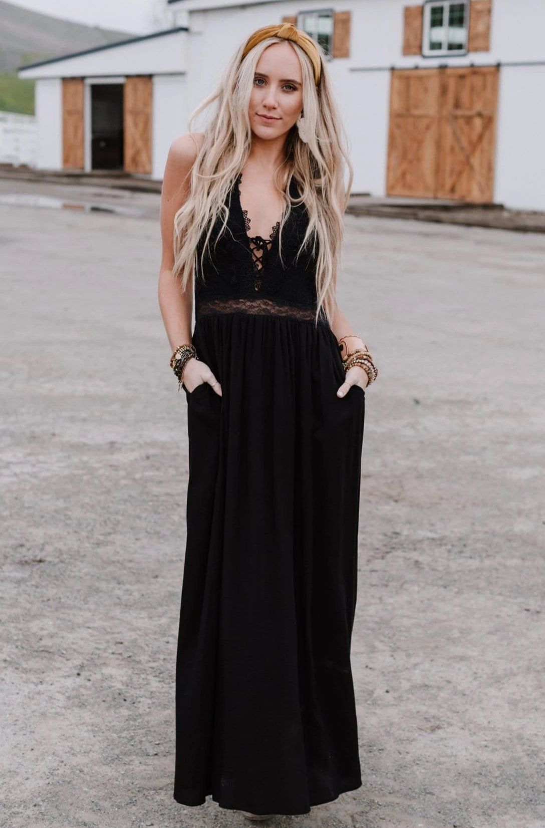 Embroidered Lace Halter Plunge Neck Maxi Dress Super Comfortable With A Stretchy Smocked Back And Is Fully Lined Maxi Dress Black Maxi Dress Lace Maxi Romper [ 1651 x 1088 Pixel ]