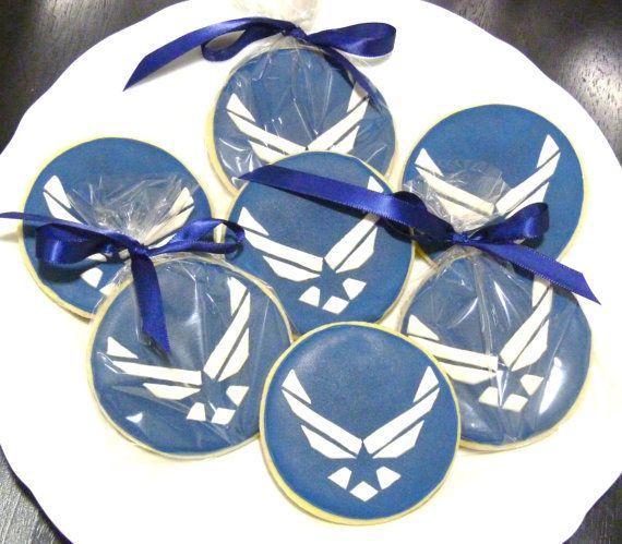 Custom Handmade Air Force Logo Sugar Cookie Favors For Air Force