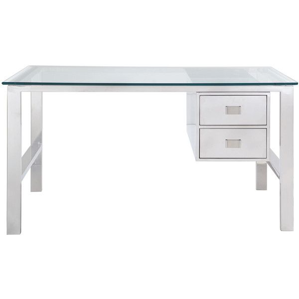 Kayden Modern Classic Stainless Steel 2 Drawer Desk Desk With Drawers Steel Desk Stainless Steel Furniture
